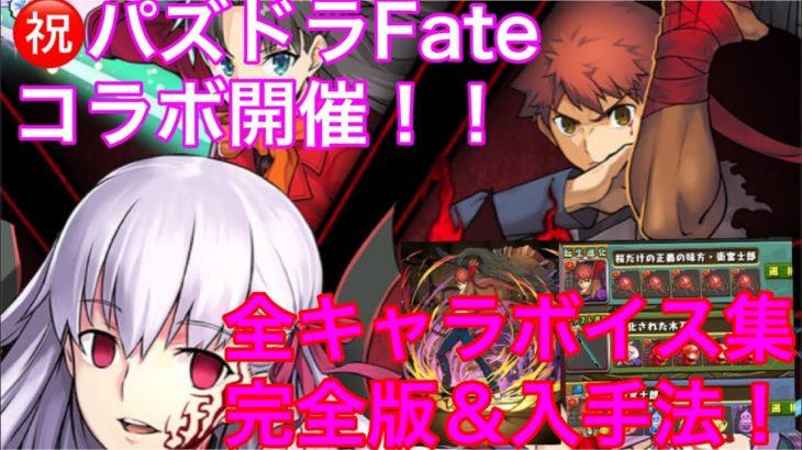 【パズドラFateコラボ】完全版!パズドラ Fate stay night コラボ 全キャラクターボイス集&入手法まとめ